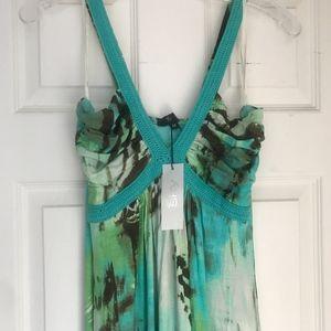 Sky mint zebra patterned maxi dress